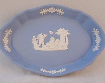 Wedgwood Blue Jasperware Oval Trinket Dish, Pin Dish, Ring Dish, Cherubs with Butterfly Design