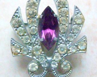 Vintage Art Deco Brooch,  Rhinestone Studded, Purple Rhinestone Statement Brooch.