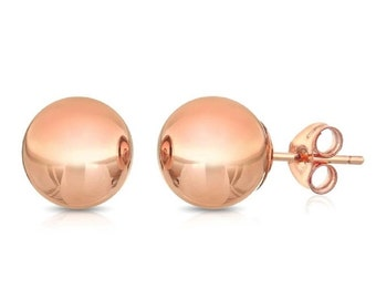 14Kt Rose Gold Ball Stud Earrings