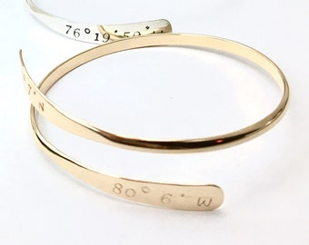 Personalized Cuff Adjustable and Expandable Unique Crossover Style Custom Coordinates Item 4744SSYAS