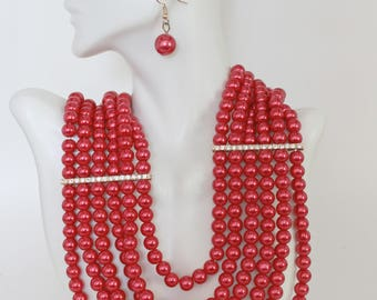 Red Necklace and Earring Set, Layered Red Necklace, Red Pearl Necklace, Red Statement Necklace, Crystal Necklace, Valentines gift for her