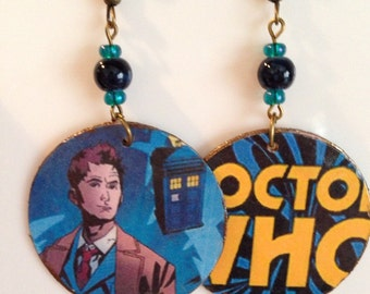 Two-Sided Up-Cycled Dr Who Earrings