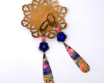 Bohemian earrings - handmade - Czech glass - bone beads - handmade jewelry - unique painted brass - francesca jewelry