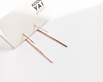 Long Minimal Threader Hypoallergenic Earrings, Simple earrings Gold, Rose Gold, Sterling Silver, minimal modern