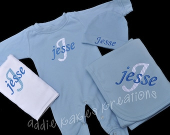 Personalized Baby Sleeper, Beanie, Burpcloth, and Blanket Combo with Name and Initial / Girl or Boy Colors
