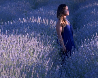 Breathe.     Lavender fields, relaxing surrounded by blue lavender,yoga picture,namaste art, yoga wall hanging, meditation,yoga photo