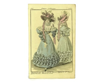 Antique Fashion Illustration. French Engraving. 1828 Fashion Plate from Costumes Parisiens. Ready To Frame Art. Fashionista Gift.