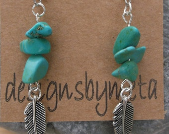 Turquoise Chips, Tibetan Silver Feather earnings