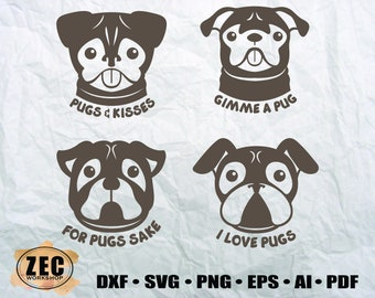 Lovely Pugs/SVG/ DXF/ Eps/ Printable files/ Sihlouette files/ Vector files/Digital Download