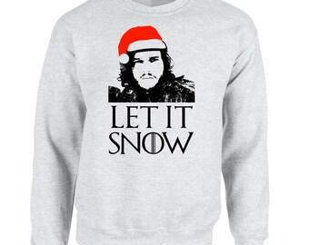 Let it Snow Ugly Christmas Sweater Game of Thrones Got Jon Snow Stark Targaryen Valar Morghulis, Let It Snow Fun Xmas Holiday gifts