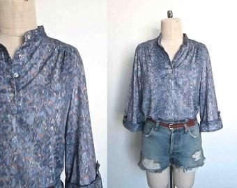 Vintage 1970's blouse LAVENDER ABSTRACT boho three-quarter sleeve - L