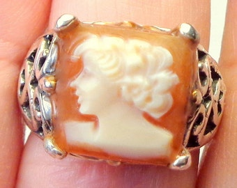 Size 6.5, Antique Hand Carved Cameo, New Sterling Silver Filigree Ring Setting, Conch Shell Cameo Ring, Carved Conch Shell, Cameo Shell Ring