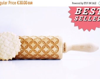 SALE CIRCLES , DIAMONDS, hypocycloid - Embossing rolling pin, laser engraved rolling pin.