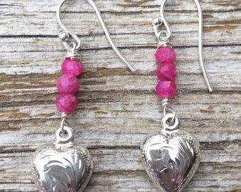 Sterling Silver Ruby Moonstone Heart Earrings