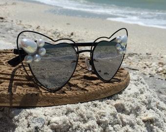 One of a Kind Sunglasses, Silver Heart Reflective Sunglasses, Sunglasses Women, Spunglasses, Hippie Boho Festival Sunglasses, Free Shipping