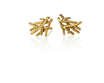 14k solid gold stud earrings, twig earrings, nature earrings, solid gold studs14k