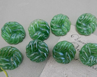 8 Vintage LE CHIC Ribbed Green Moonglow Glass Buttons   PAW19