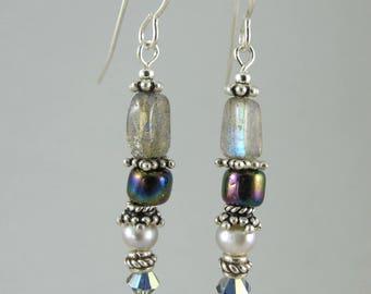 labradorite and sterling earrings earrings FREE SHIP