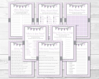 Purple Chevron Baby Shower Games Package / 8 Printable Games / Baby Girl Shower / Baby Shower Games / INSTANT DOWNLOAD A213