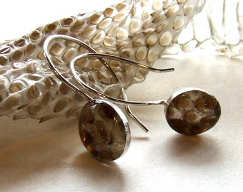 SNAKE SKIN Earrings Oval on posts or wires - Resin and Sterling Silver - Steampunk Curiosity Woodland Relic Farmhouse Nature Jewelry