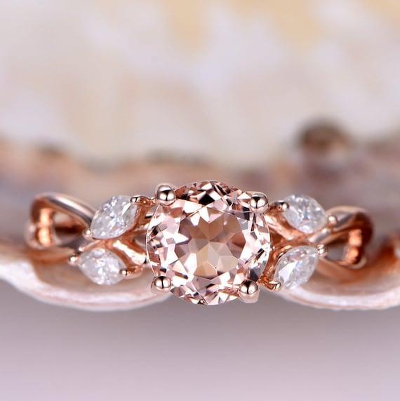 Natural Morganite Engagement Ring Pink Morganite Ring 7mm