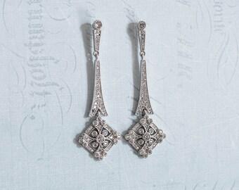 Bridal Art Deco earrings, Silver Vintage deco Earrings, Wedding Crystal earrings, Chandelier earrings, 1920s earrings - 'JENNA'