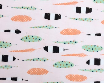 Colorful Feather Fabric on Blush -  Pastel Coral, Mint, Navy and Gold Triangle Tribal Print on 100% Cotton by the Yard