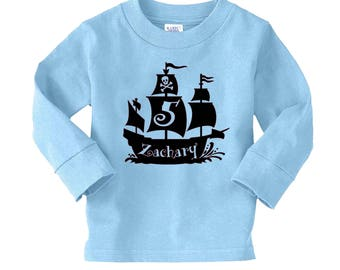 Pirate Shirt - Pirate Ship Shirt - Pirate Party - any age and name - pick your colors!