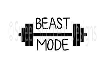 Beast Mode weight gym DXF SVG PDF instant download design for cricut or silhouette