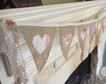 Valentines Hearts Shabby Chic Banner Bunting -  burlap - baby shower, wedding, birthday, nursery