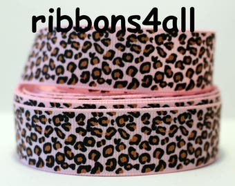 """1"""" Grosgrain Ribbon by the Yard, Pink Animal Print Ribbon  Leopard Ribbon for Gift Bags, Gift Box, Birthday Gift, or Craft"""