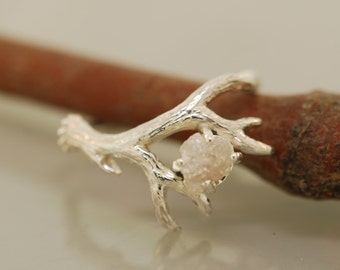 Antler Ring 2 with Raw Diamond,  rough diamond ring, alternative engagement ring, twig ring, twig diamond ring, antler ring