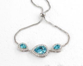 Wedding Bracelet Platinum plated Light Turquoise Swarovski Teardrop Crystal Bracelet Bridesmaid Gift Something Blue Bridesmaid Bracelet