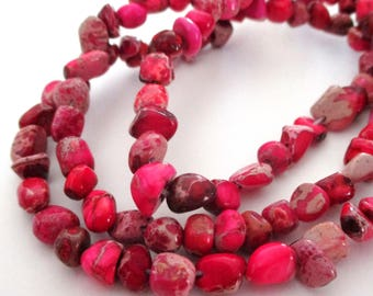 """Pink Imperial Jasper Beads - Jasper Nugget Beads - Natural Gemstone Pebble Nugget - Center Drilled - 16"""" Strand - 8mm - DIY Jewelry Making"""