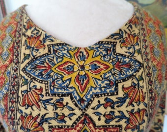 1960's - 1970's Hand Blocked India Hippie Dress /  Maxi Dress Size M