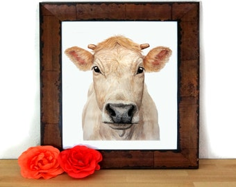COW STARE PRINT - Cow painting, Cow pictures, Cow art, Farm art, Farm painting, Cow print, Farm animal prints, Cow paintings,  vegan gift