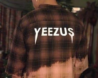 Yeezus distressed tie dye flannel Kanye West