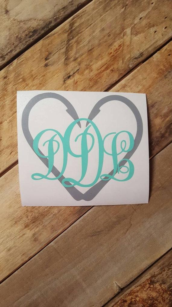 Fish hook heart fancy monogram decal vinyl decals yeti cup