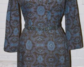 Blouse Skirt 2pc Dress Set 1960s Mod Print- Blouse, Wiggle Skirt, Belt Set- Pinup Dress- Blue Paisley 60s Style- Waist 25 Size Small