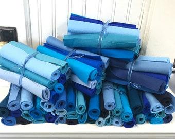 Wool Felt, Stash Builder, Assortment, Shades of Blue, Aqua, Teal, Pure Merino, Wool Applique, Penny Rugs, Felt Flowers, Felt Toys, Fiber Art