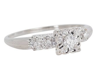 MARKED DOWN! Vintage Engagement Ring    Conflict Free Diamond Inexpensive Ring   Five Stone 14k Estate Diamond Ring    17048