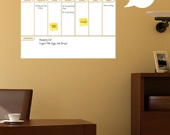 Dry Erase Calendar, Dry Erase Calendar With Memo Area - Dry Erase Calendar, Wall Calendar, Dry Erase Wall Planner by Shop Simply Perfect