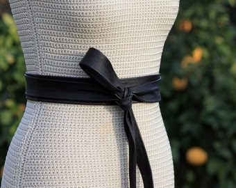 Leather Obi Wrap Belt • Long + Skinny Leather Wrap Belt • 2 inch wide bespoke leather sash • brown, black, navy, camel, taupe, red