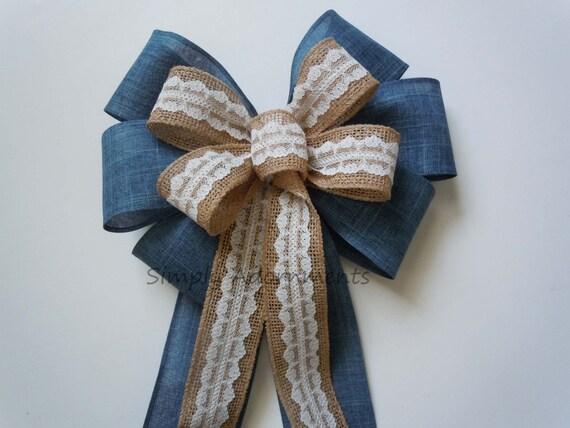 Denim Burlap Lace Wedding Bow Country Blue Denim Lace Bow Burlap Lace Bow Wedding Ceremony Aisle Decoration Bow