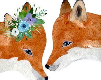 Fox couple , Woodland Nursery Fox, Animal Paintings, Fox, Bear, Deer, Animal Wall Art, Childrens Wall Decor, Kids Art, fox painting