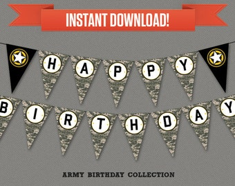 Army Party Printable Birthday Banner with Spacers - Editable PDF file - Print at home