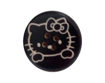 3 buttons wood sewing/child/scrapbooking 3 cm small cat HELLO