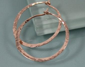 """Hoops Medium 1"""" Rose Gold Filled Hammered Texture Hoop Earrings"""
