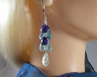 Apatite Amethyst Earrings- Silver, Cascade Design