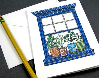 WIndow Garden Stationery Set - Set of 8 Blank Inside Card Set - Potted Herbs on a Window Sil notecards
